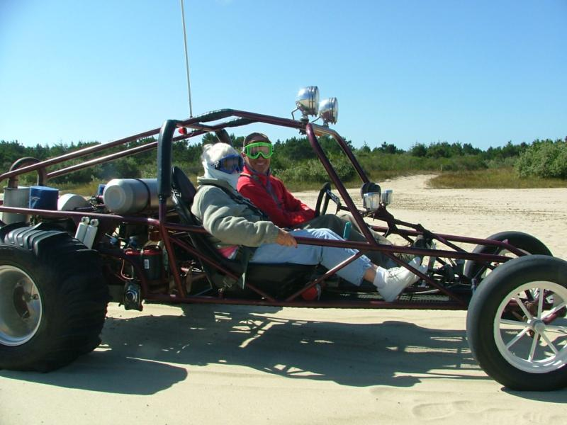 Our Dune buggy with 86 year old Pat