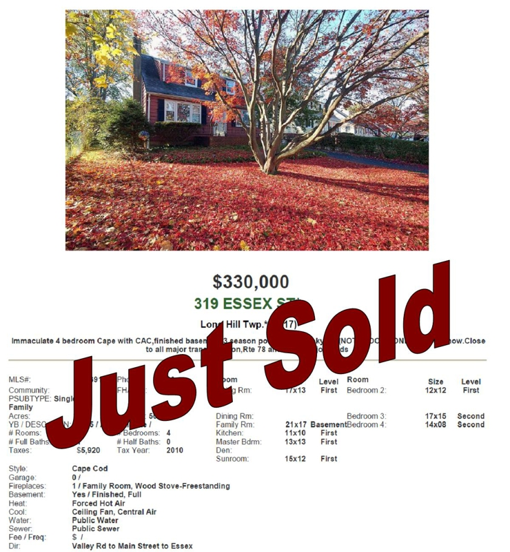 Just Sold in Long Hill, NJ 07980