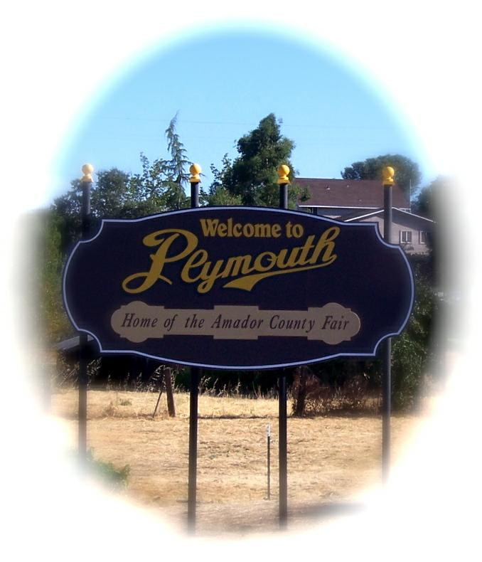 Plymouth CA sign