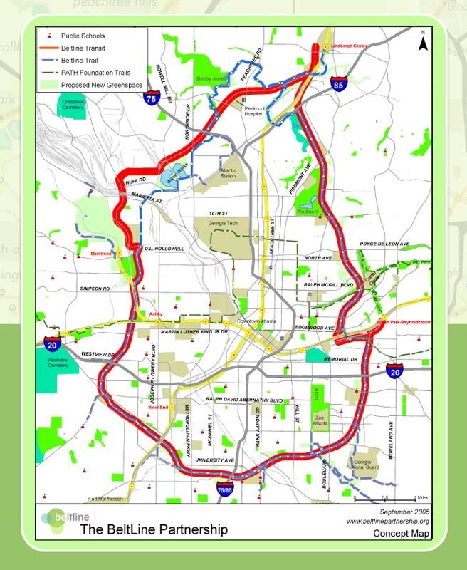 Map of Atlanta Beltline - Atlanta Metro ODAT Realty CDPE Advanced  Buckhead Atlanta GA