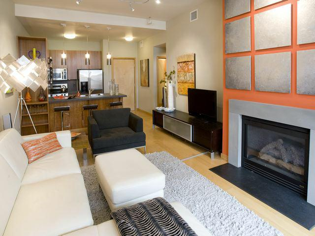 Bridgeport Condo featuring Kartell pendant lamps, George Kovacs floor lamp