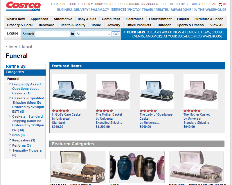 Costco: Bulk paper towels, tires, coffins and      Mortgages?