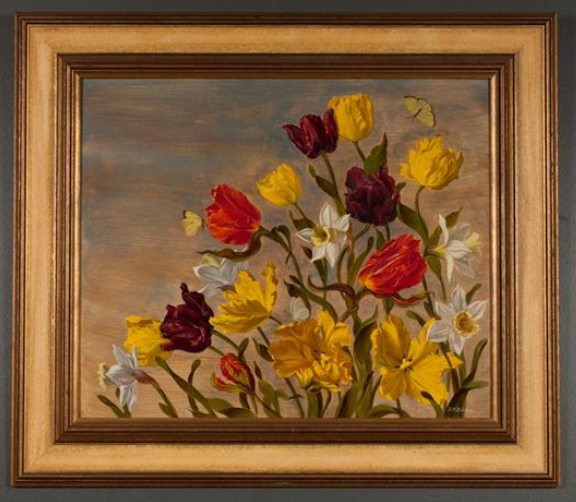 Franklin H. Redelius - Daffodils, Parrot Tulips, and Butterflies