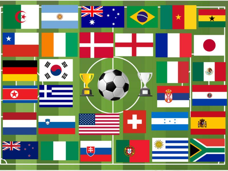 Flags of all the Nations playing in World Cup 2010