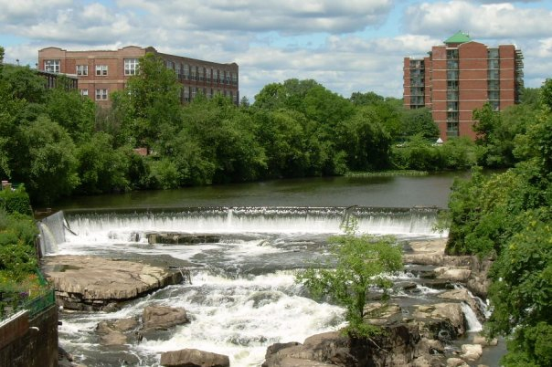 Serene view of the falls at The Mill in Little Falls