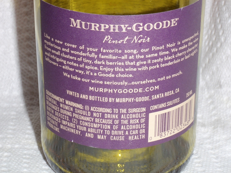 Murphy Goode Back side of bottle by Endre Barath