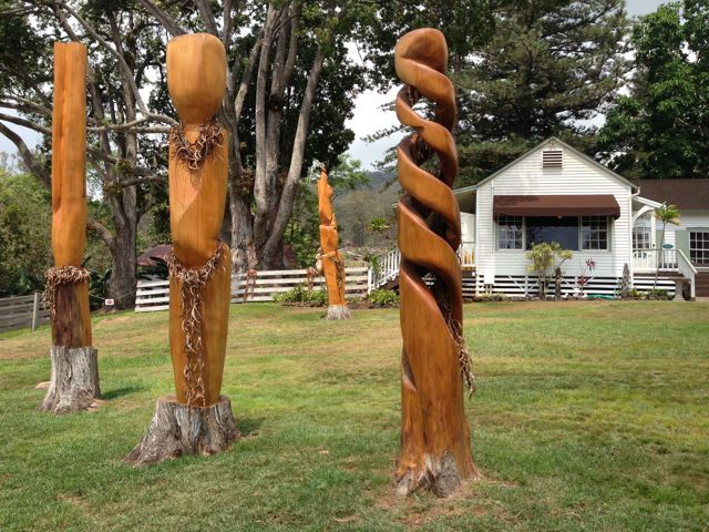 tree carvings at the Tedeschi Winery on Maui