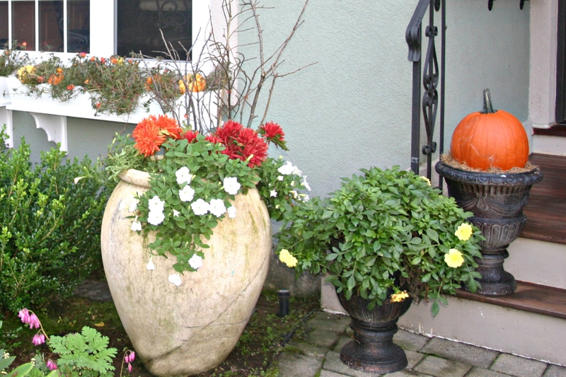 fall decorating for planters
