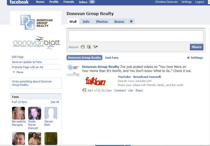 Donovan Group Realty Facebook Fan Page
