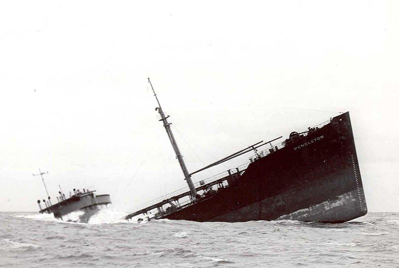 Bow section of tanker SS Pendleton grounded near Pollock Rib lightship six miles off Chatham, Mass on the morning of Feb. 19, 1952.