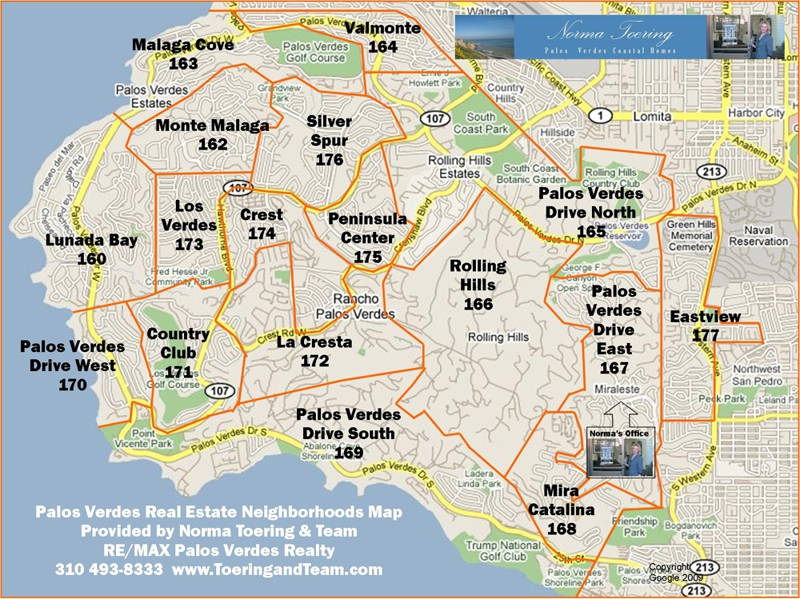 Palos Verdes Map with Real Estate Areas