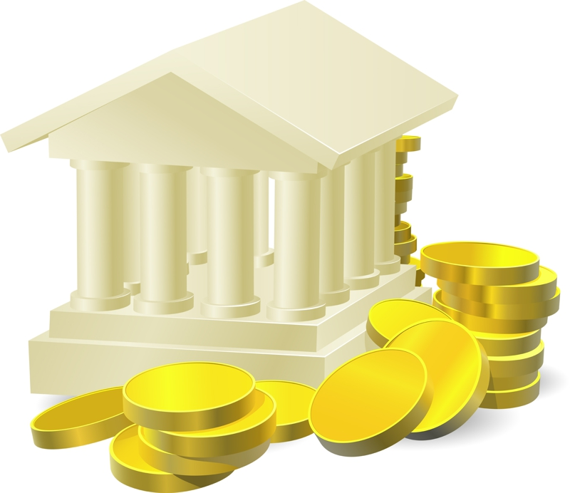 bank cartoon, yellow coins, white columns