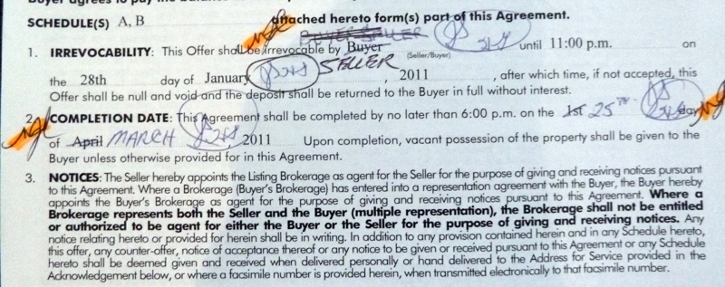 Portion of Agreement of Purchase and Sale