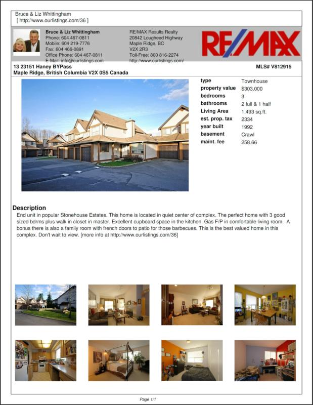Maple Ridge Townhome For Sale #13 23151 Haney ByPass, Maple Ridge BC
