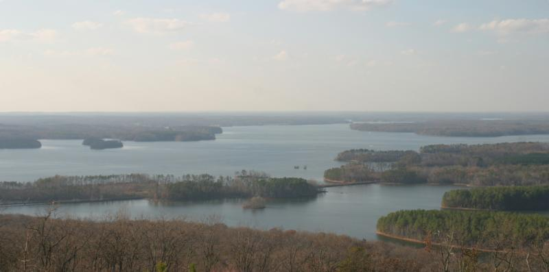 high rock lake from the mountains