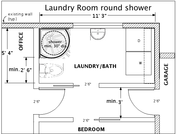 Laundry Bath With Round Shower