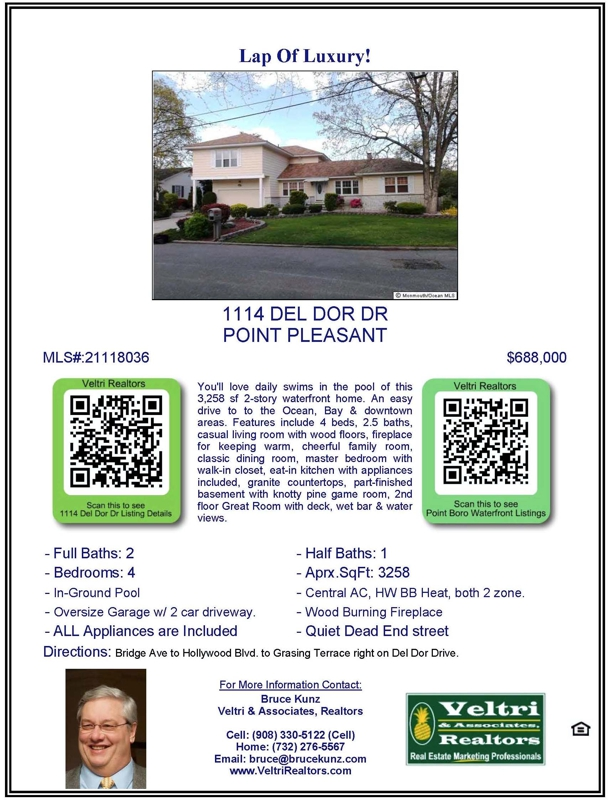 Open House at 1114 Del Dor Drive, Point Pleasant, NJ 08742 on Sunday June 4th and 5th, 2011