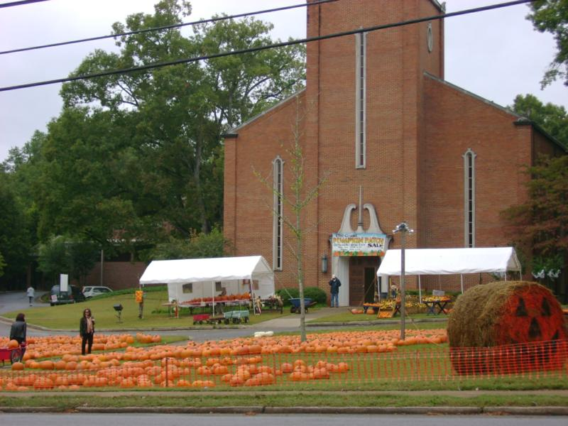 Halloween Pumpkins for sale at Milledge Avenue Baptist Church in Athens, Georgia