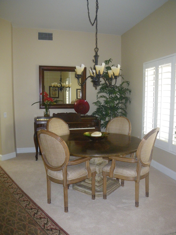 Separate dining room with new chandalier