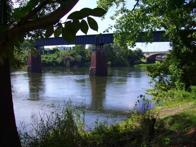 Columbus Ga, Home, to, Ft Benning, Fishing Spot with a view of the Railroad Bridge and Dillingham Bridge.