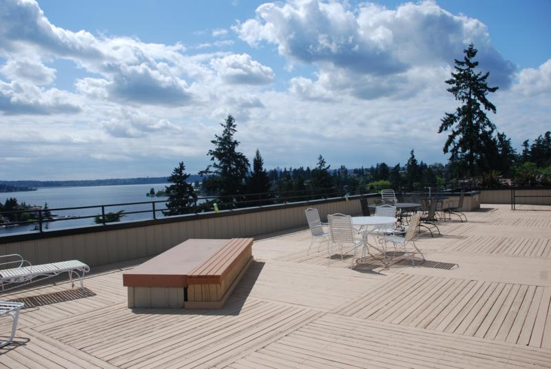 View of Lake Washington from the rooftop deck