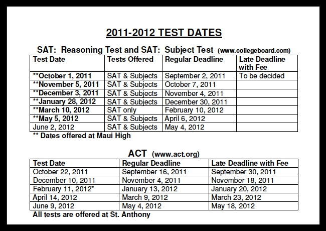 MAUI SCHOOL SCHEDULE--2011/2012 SAT/ACT TEST DATES