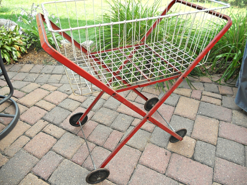 Red Laundry Cart