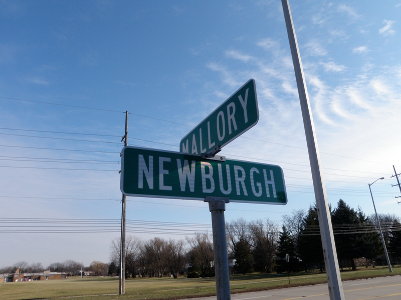 Newburgh and Mallory street sign Livonia Michigan