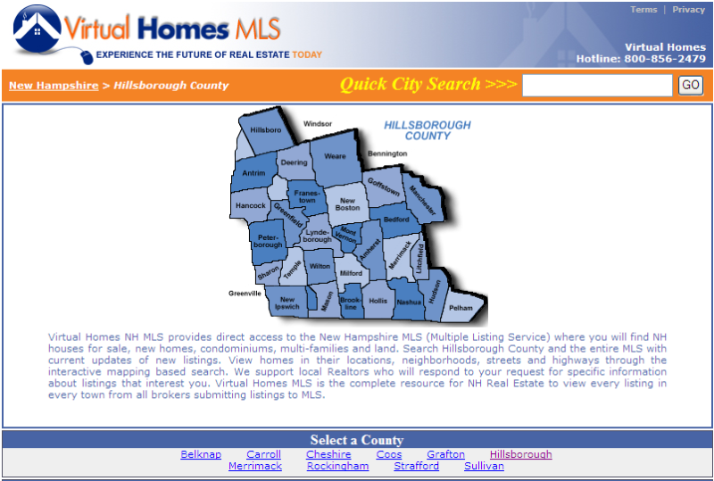 Hillsborough County NH Real Estate - MLS Map Search