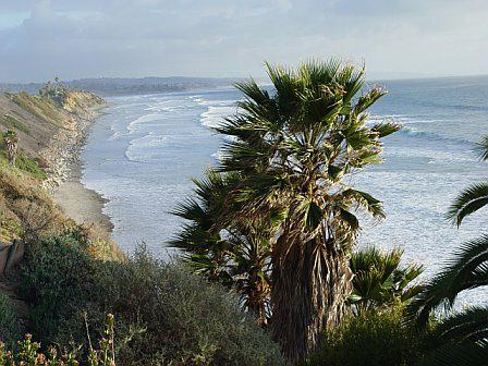 View south at Swamis Beach in Encinitas CA