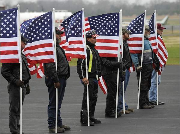 Patriot Guard at Airport standing Flag Line
