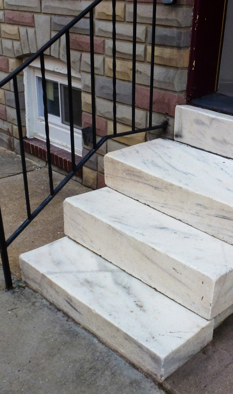 White marble steps HomeRome 410-530-2400