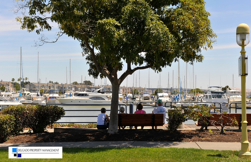 Benicia Marina bench - Delgado Property Management