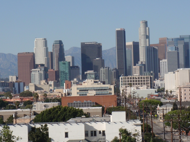 view of downtown Los Angeles from USC