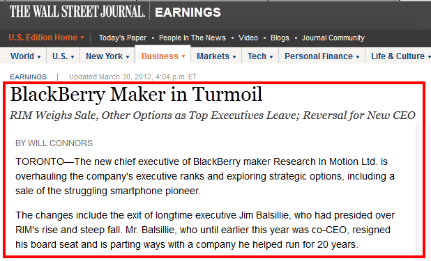 Blackberry RIM - WSJ