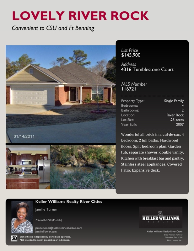Flyer for 4316 Tumblestone Court