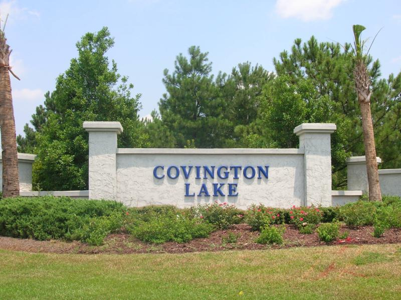 Entrance sign for Covington Lake in Carolina Forest of Myrtle Beach, SC