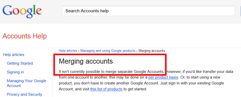 You CANNOT Merge separate Google Accounts