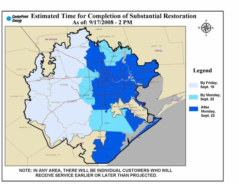 Centerpoint Energy Completion Estimates Texas