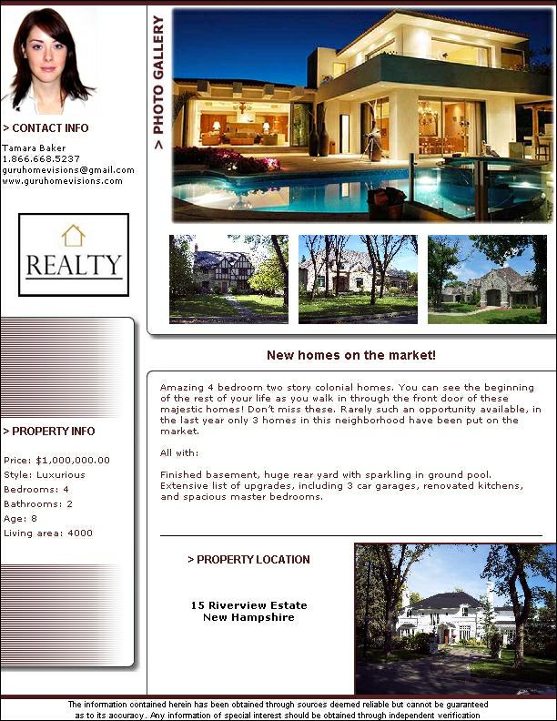 Guru Real Estate Flyers XML Update Increase Traffic To Your - Real estate brochure templates free