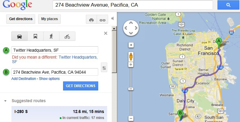 Google map, Beachview to downtown SF