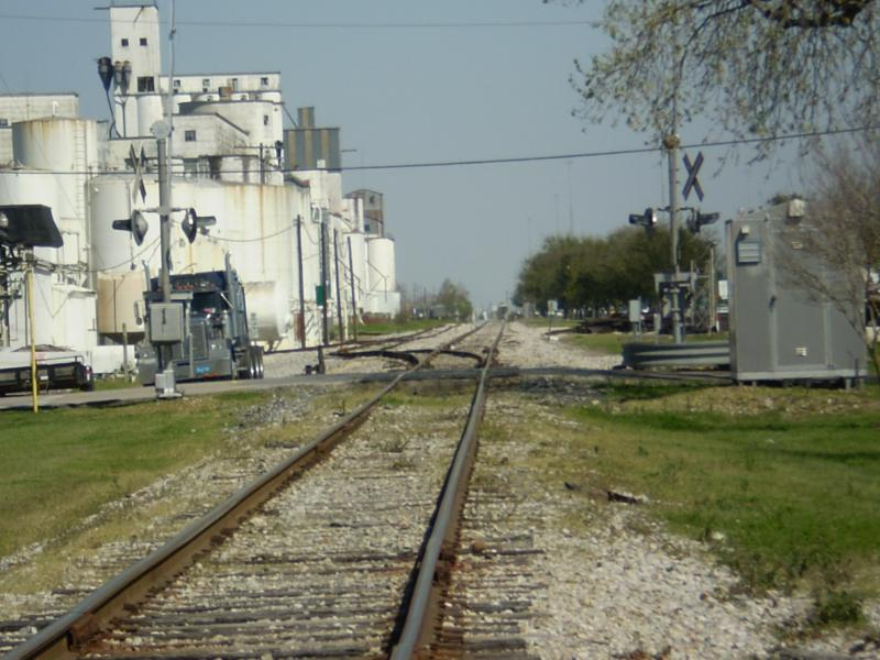 rice dryers and railroad tracks