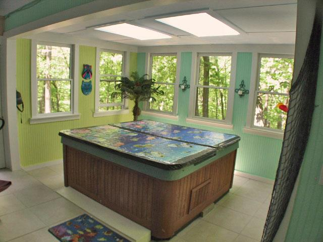 Pin By Dorothy Mayone On Indoor Hot Tubs Hot Tub Room Jacuzzi