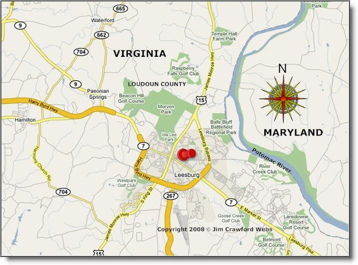map of leesburg virginia virginia map