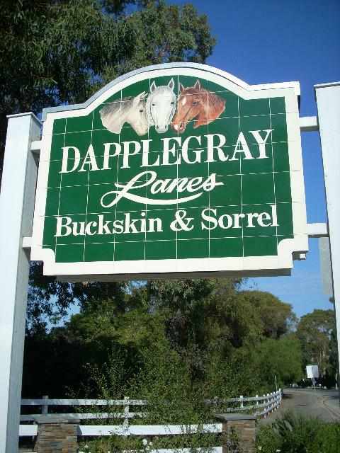 Dapplegray Lanes Sign w/ Buckskin & Sorrel in Rolling Hills Estates - Photo by Nat Toering of Rising Sun Photography