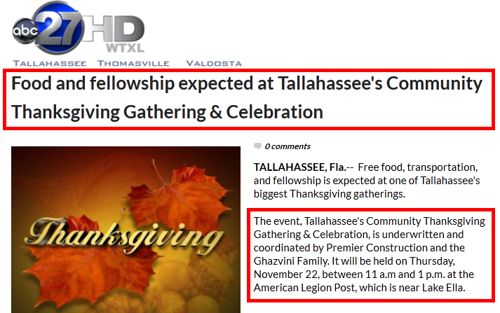 Free Thanksgiving Dinner in Tallahassee