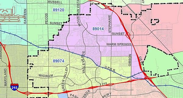 Map of Henderson ZIP Code 89014