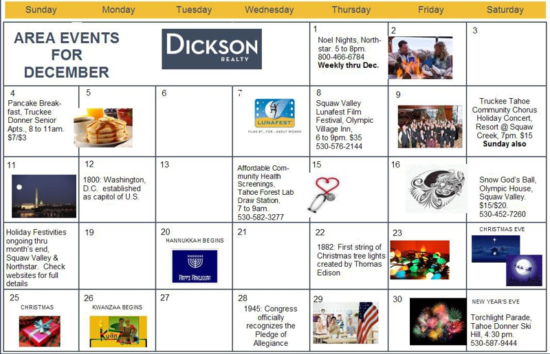 December 2011 Calendar of Events for Truckee Tahoe
