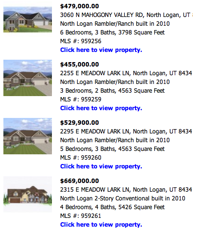 "Phantom  Listings  - Homes for Sale in North Logan, that aren't really homes, but  just  lots with ""possible"" floor plans."