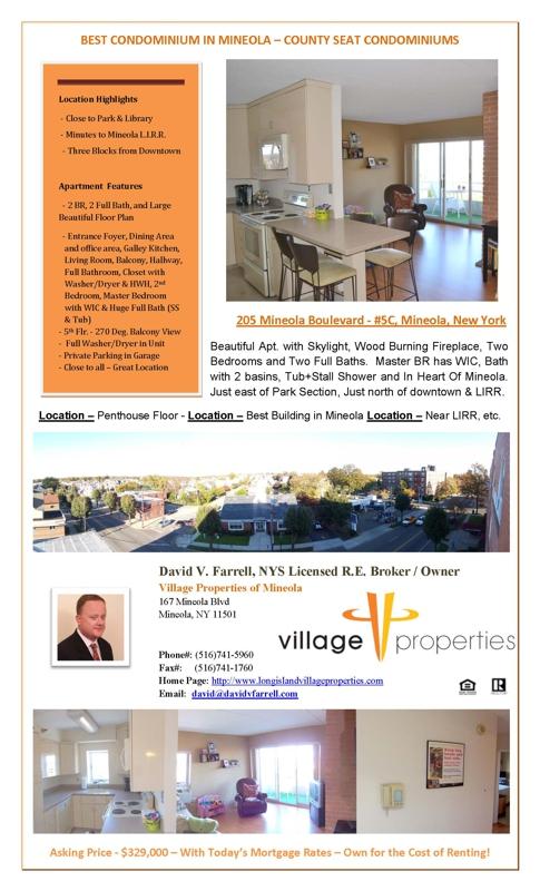 Sale of 205 Mineola Boulevard Unit #5C